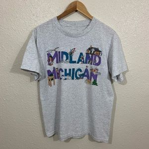 Vintage 90s Midland Michigan Art Great Lakes Shirt